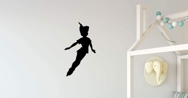 Kids Room Wall Decor - Peter Pan Silhouette Vinyl Decal - Boy or Girl Bedroom Home Decor - Themed Fairy Tale Vinyl Decor for Kid's Bedroom, Baby Nursery, Playroom, Preschool