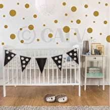 Set of 130 assorted vinyl wall pattern polka dots (Metallic Gold)