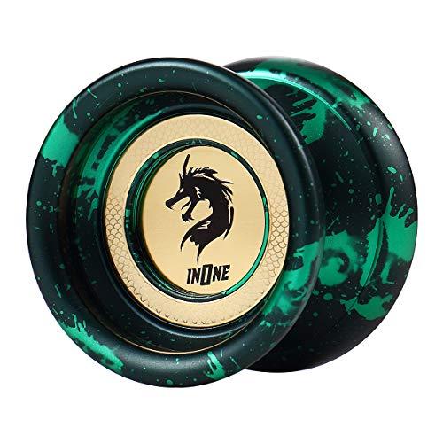 INONE Dragons YOYO Aluminum Alloy Unresponsive Yo-yos Designed for Kids, Yo-Yo Fans, Beginners Gift Glove, 10 Strings, Spare Bearing (Venom) (Best Unresponsive Yo Yos)