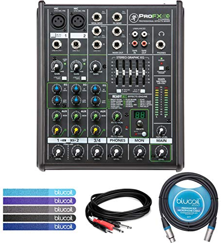 Mackie PROFX4v2 4-Channel Analog Mixer with Built-In Effects -INCLUDES- Hosa CMP-159 10' Stereo Breakout Cable, Blucoil10-Ft XLR Cable (Male-to-Female) AND 5-Pack of Cable Ties