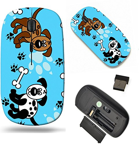MSD Wireless Mouse Travel 2.4G Wireless Mice with USB Receiver, Noiseless and Silent Click with 1000 DPI for notebook, pc, laptop, computer, mac book design: 13376816 Cute and fun spotted cartoon dogs