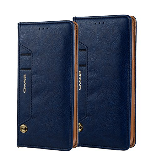 Case for Galaxy S8 Plus, TechCode Smart Wallet Casewith Card Slots&ID Holder, Premium PU Leather Case, Dual Layer Design, Retro Simple Stylish Vintage Fashion Lightweight Stand Case for 6.2 Inch Samsu Blue