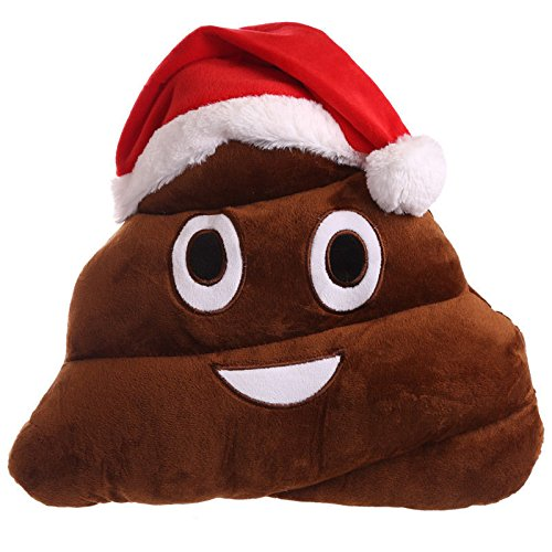 Poop with Santa Hat Emoji Pillow 14 Inch Large Brown Smiley Emoticon Crazy Santas
