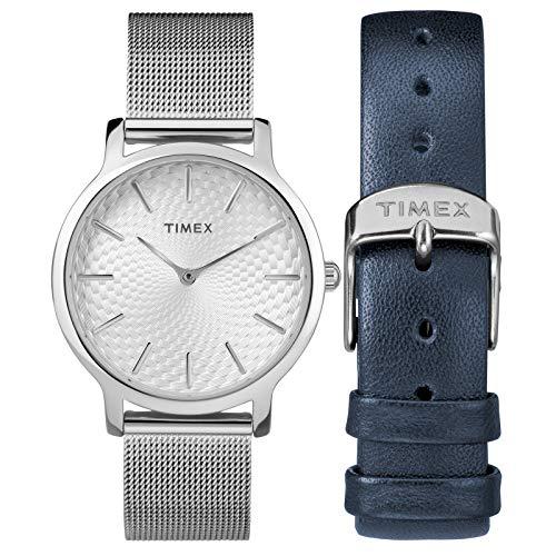 Timex Women's TWG019500 Metropolitan 34mm Silver-Tone Stainless Steel Mesh Bracelet Watch Gift Set + Blue Leather Strap