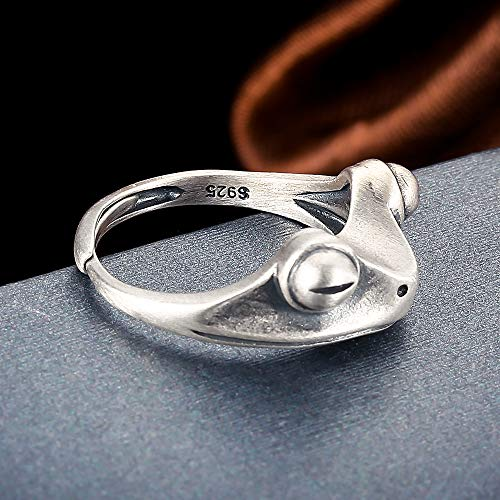 S925 Sterling Silver Frog Open Rings for Women Girl Adjustable Vintage Statement Ring Xmas Birthday Party Jewelry Gift (S925 Frog Ring)