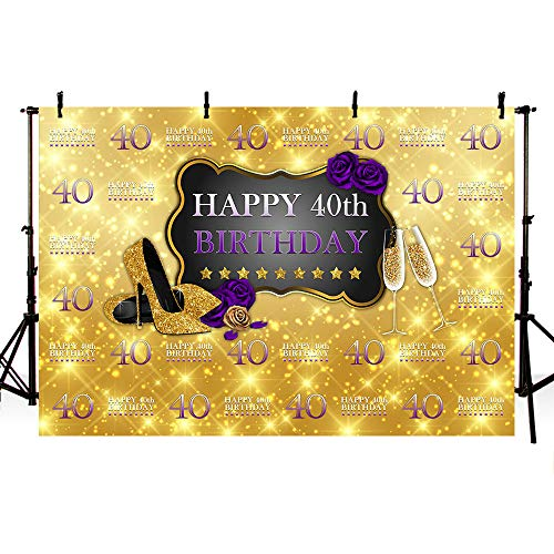 MEHOFOTO Purple and Gold Photo Background Glitter High Heels Champagne Rose Woman 40th Happy Birthday Party Banner Backdrops for Photography 8x6ft ()