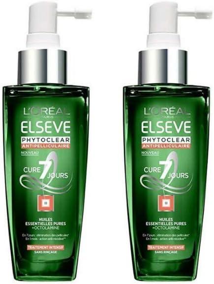 Loción intensiva para cuero cabelludo L'Oreal Elvive Phytoclear anti caspa, 7 días, 100 ml, 2 unidades
