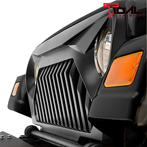 Tidal Front Grille Overlay Upper Grill Cover No Paint Black for 97-06 Jeep Wrangler TJ LJ