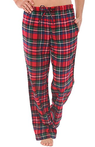 Alexander Del Rossa Women's Flannel Pajama Pants, Long Cotton Pj Bottoms, Medium Blue Red and Green Plaid (A0702Q19MD) (Flannel Pj Pants For Juniors)