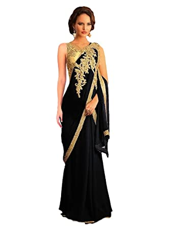 Suchi Women\'s Black and Gold Georgette Stitched Saree Style Party ...