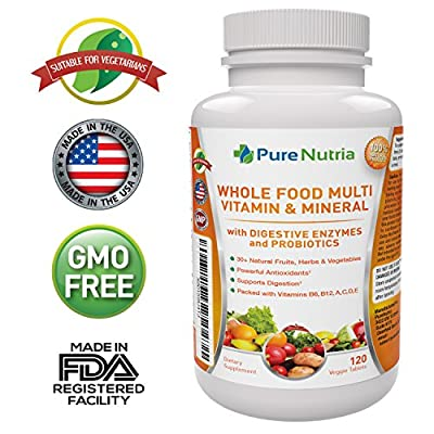 Whole Food MultiVitamin and Minerals with Probiotic Enzymes - 120 Multivitamins for Women and Men - Packed With WholeFood and Herbal Ingredients - Powerful Antioxidants for Digestive Support