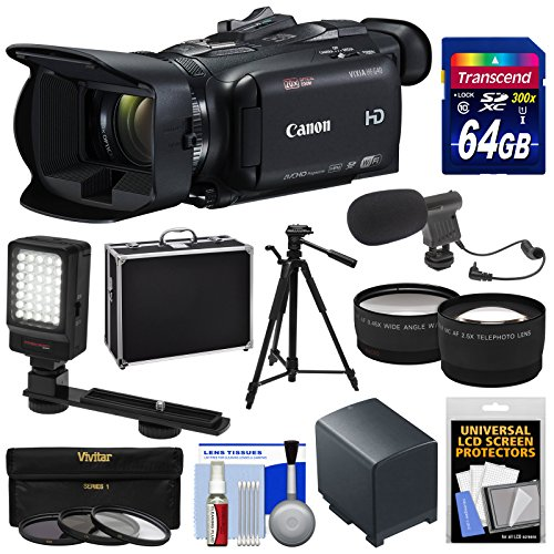 Canon Pro Video Cameras (Canon Vixia HF G40 Wi-Fi 1080p HD Digital Video Camcorder with 64GB Card + Battery + Hard Case + Tripod + LED + Mic + Telephoto & Wide Lenses +)