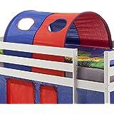 Tunnel MAX tente cabane pour lit surélevé coton bleu rouge