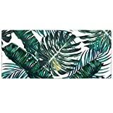 Large Gaming Mouse Pad,HAOCOO Extended Computer keyboard Desk Pad Mat Waterproof Soft Non-slip Rubber Base with Stitched Edges for Office Gaming Home (35.4×15.7 inches Palm Leaves)