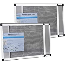 """Fenestrelle Expandable Window Screen, 2 Way Adjustable, Horizontal (15""""h x 21-40""""w) or convert to Vertical (21""""h x 15-28""""w), 2 Pack"""