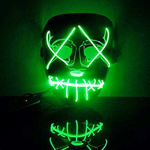 PENGYGY The Purge Movie EL Wire DJ Party Festival Halloween Costume LED Mask HQ New Bright Gifts Colorful Fashion party (Green) for $<!--$6.59-->