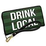 Wallet Clutch Drink Local St. Patrick's Day Dark Green Stripes with Removable Wristlet Strap Neonblond