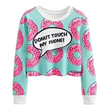 Jiayiqi Women's Long Sleeve Cartoon Print Crop Sweatshirts Ribbed O-Neck