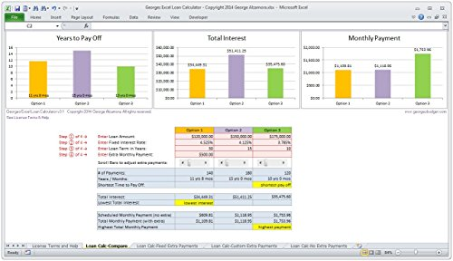 Georges Excel Loan Calculator V3.1 - Mortgage Home Loan - Import