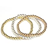 Bead Ball Stretch Elastic Bracelet 14k Gold Yellow, White and Rose, Easy Slid On