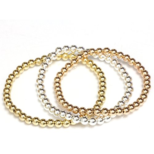 Bead Stretch Elastic Bracelet Gold Filled Yellow, White and Rose, Easy Slide on