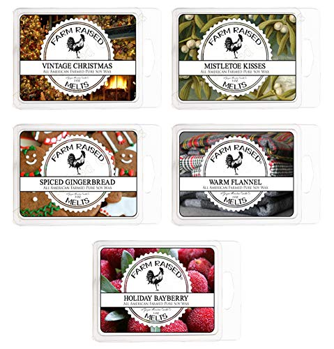 - Farm Raised Candles Cool Weather Variety Assortment 5 Pack (15 Ounces). USA Hand-Made Scented Wax Melts.100% All Natural Soy Wax Made Paraffin-Free. Christmas Spice, Mistletoe Kisses, Warm Flannel