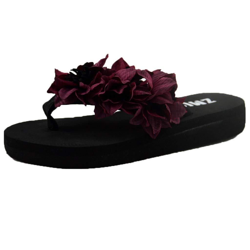Woman Flower Flip Flops, Womens Fake Flower High Platform Muffin Flip Flop Thong Sandals by Hunzed (6.5 M US, Wine 01)