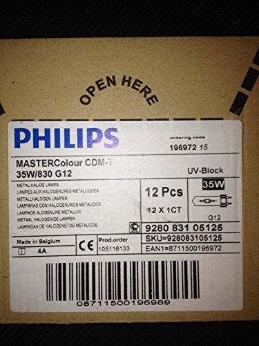 - 12 Pieces Philips CDM35T6/830 196972 35W Metal Halide Bulbs G12 Base