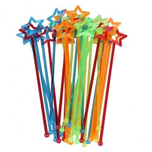 Dealglad 30pcs Mixed-color Plastic Star Design Cocktail Drink Stirrers Swizzle Stick