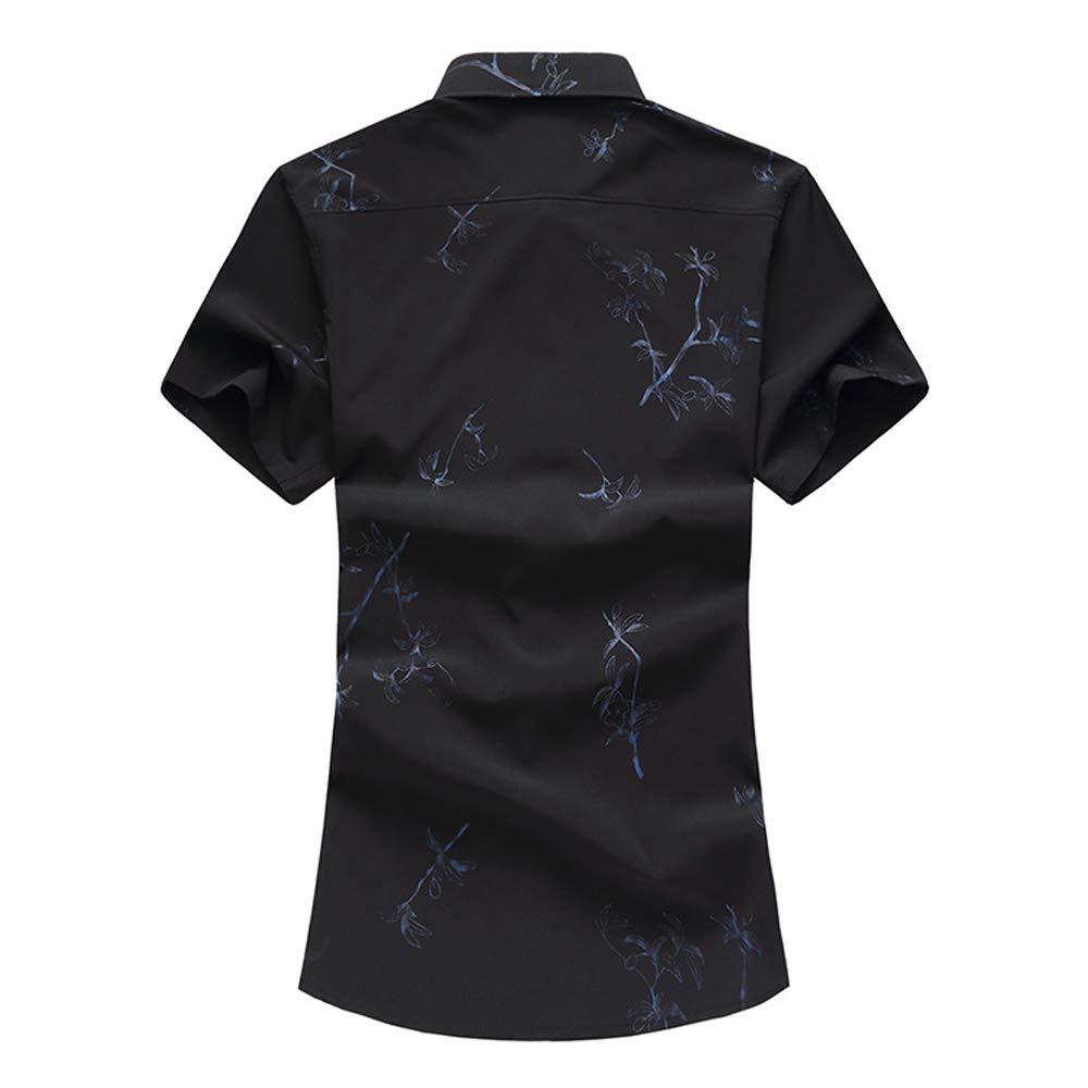 EELa Mens Short Sleeve Printed Floral Flower Casual Button Down Shirt Summer Hawaiian M