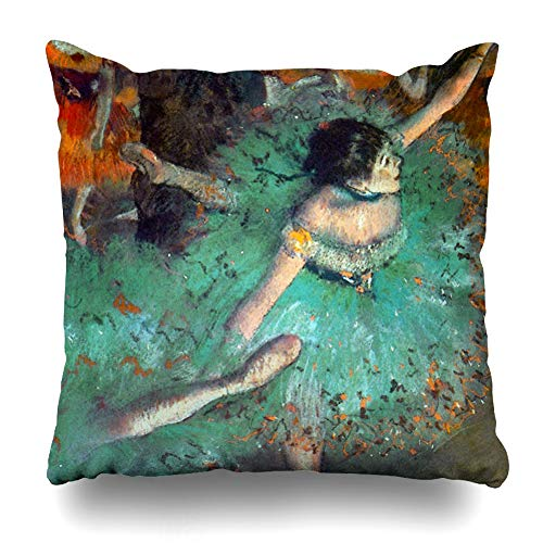InnoDIY Throw Pillow Covers Edgar Degas The Green Dancers Ballet Dance Pillowslip Square Size 18 x 18 Inches Cushion Cases -