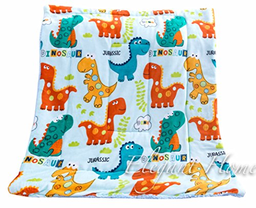 Elegant Home Multicolor Dinosaurs Kids Soft & Warm Sherpa Baby Toddler Boy Blanket Printed Borrego Stroller or Toddler Bed Blanket Plush Throw 40X50 # Dinosaur by Elegant Home