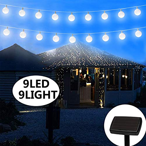 pearlstar Solar Snowball Bulb Strings Lights Outdoor with 9 LED Hanging Bulbs Waterproof for Curtain Patio Landscape Fairy Garden Home Wedding Holiday Christmas Tree Party(1 Pack Warm White) from pearlstar