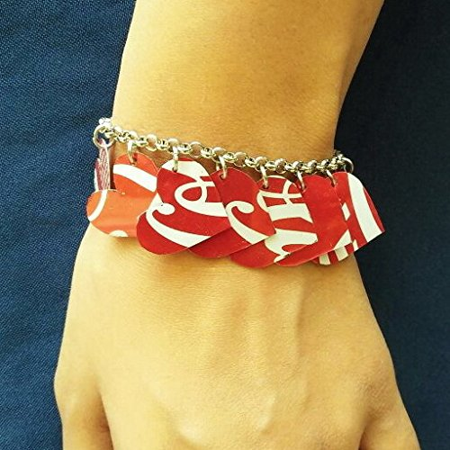 Coca Cola can heart bracelet - FREE SHIPPING - recycled reclaimed bracelets charm handmade bracelets Fair trade ethical fun present presents inspiring alternative ideas functional beautiful cute