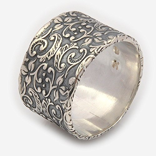 Wide Silver Floral Motif RIng, Handmade Alternative Silver Wedding Band Available in Sizes US 3-11
