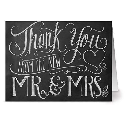 72 Chalkboard Note Cards - New Mr. & Mrs. - Blank Cards - Kraft Envelopes Included