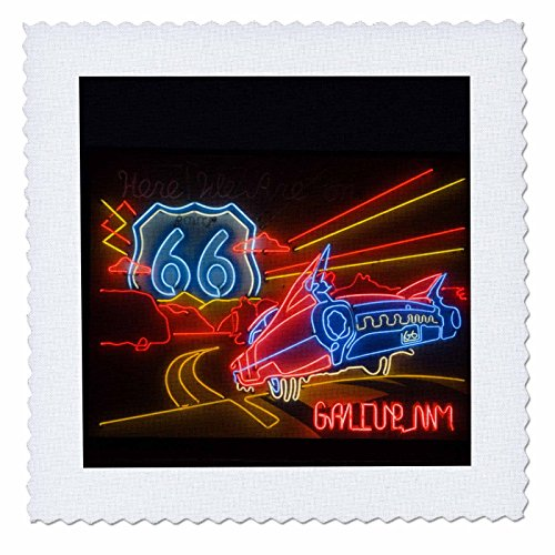 3dRose qs_92986_1 Route 66 Neon Sign-US32 TDR0060-Gallup Chamber of Commerce-Trish Drury Quilt Square, 10 by 10-Inch