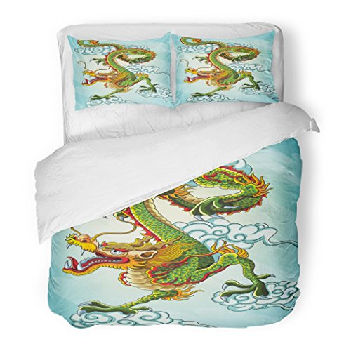 SanChic Duvet Cover Set Green China Chinese Dragon Painting File Year Oriental Faith Mythology Decorative Bedding Set with 2 Pillow Shams Full/Queen Size by SanChic