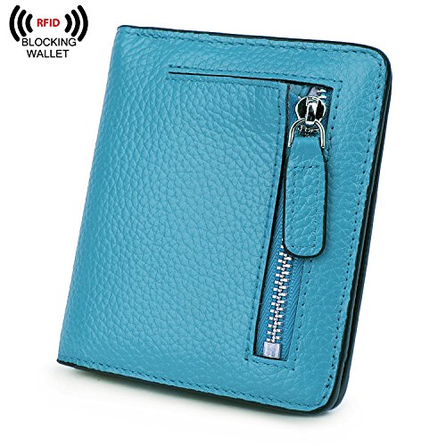 BIG SALE-AINIMOER Women's RFID Blocking Leather Small Compact Bifold Pocket Wallet Ladies Mini Purse with id Window (Sky Blue)