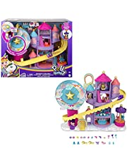 Polly Pocket Rainbow Funland Theme Park, 3 Rides, 7 Play Areas, Polly and Shani Dolls, 2 Unicorns & 25 Surprise Accessories (30 Pieces), Dispensing Feature for Surprises, for Ages 4 Years Old & Up