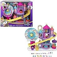 Polly Pocket Rainbow Funland Theme Park, 3 Rides, 7 Play Areas, Polly and Shani Dolls, 2 Unicorns & 25 Su