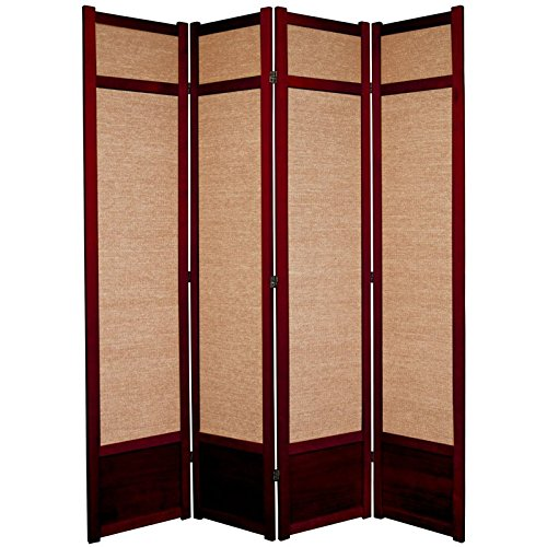 7 Four Tall Panel - Oriental Furniture 7 ft. Tall Jute Shoji Screen - 4 Panel - Rosewood