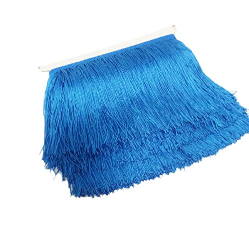 Mangocore 10Yard/Lot 15CM Long Lace Trim Color Polyester Tassel Fringe Trimming For Diy Latin Dress Stage Clothes Accessories Royel blue as picture