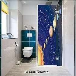 RWNFA Non-Adhesive Privacy Window Film Solar System with Sun Uranus Venus Jupiter Mars Pluto Saturn Neptune Image Door Sticker Glass Film 17.7 in. by 47.2in. (45cm by 120cm),Dark Blue Orange