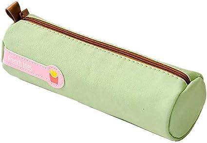 Demarkt Estuche de Lona Bolsa de Papelería Simple en Color Liso Estuche de Lápices de Gran Capacidad Estuche de Lápices Lindo Patrón Estuche Redondo (Verde): Amazon.es: Oficina y papelería