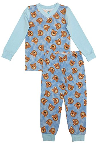 Esme Boys Pajamas Long Sleeve Top & Pant Set 4 Teddy (Teddy Bear Pjs)