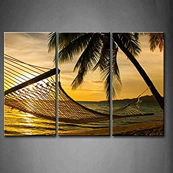 Charming 3 Panel Wall Art Hammock Silhouette With Palm Trees On A Beautiful Beach At  Sunset Painting Part 29