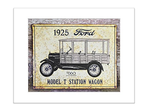 5x7 Inch Matted Print 1925 Ford Model T Rustic Kitchen Man Cave Decor Vintage - Pictures Gents Models