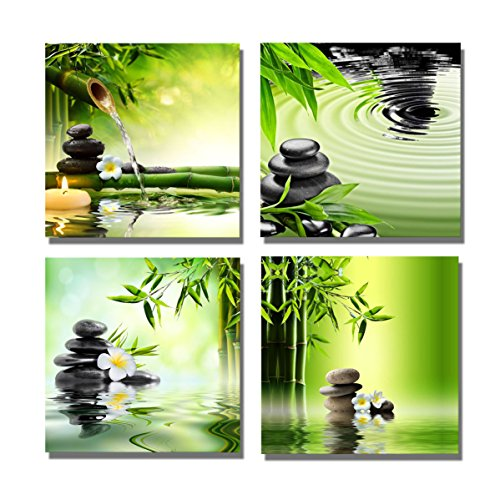 Yang Hong Yu Canvas Prints Stones Candle and Bamboo on Water SPA Theme Photo on Canvas Wall Art Framed Modern Decor Paintings Giclee Artwork for Home Decoration 12x12inch -