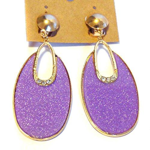 Clip-on Earrings Oval Hoop Dangle Bright Purple Clip Earrings